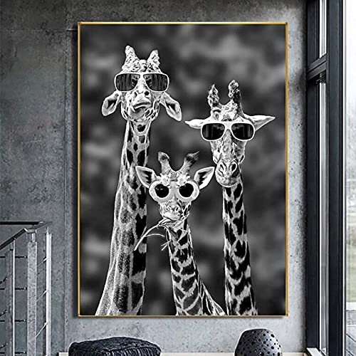 Giraffen mit Sonnenbrille Lustige Kunstplakate und Drucke Schwarzweiss-Tiere Leinwandbilder an der Wand Kunstbilder Cuadros 20x30 CM (Kein Rahmen)