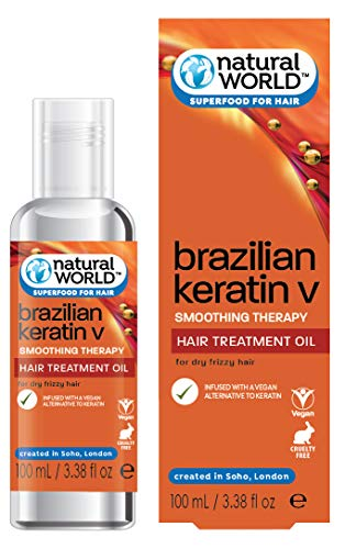 Natural World - Brazilian Keratin Smoothing Therapy, Olio per capelli secchi e crespi alla cheratina, 100 ml