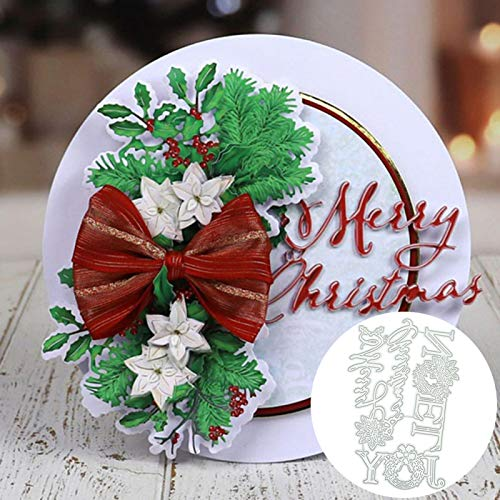 Scrapbooking Embossing Cutting Die,Joy Noel Merry Christmas Letters Cutting Die Scrapbooking Card Making Stencil - Silver