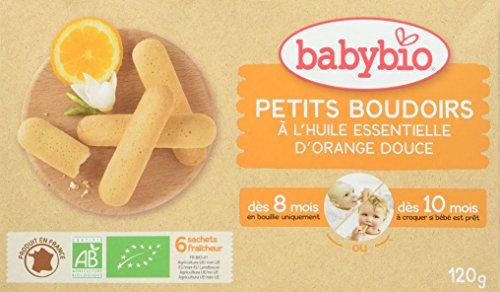 BabyBio Petits Boudoirs- Galletas de dentición con aceite esencial de naranja dulce - BIO - 120 g