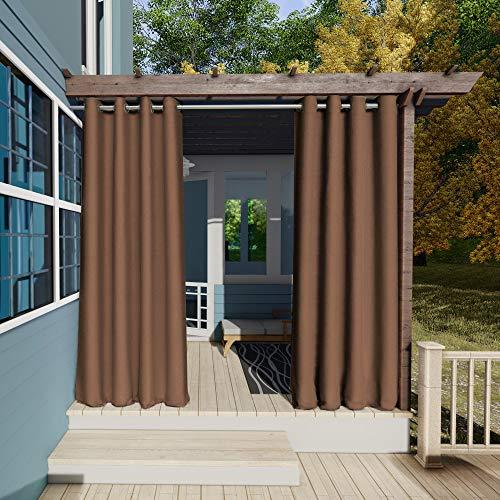 Clothink Outdoor Vorhänge Aussenvorhang Garten Verdunkelung Outdoor Gardinen 132x215cm(B x H) Braun Blickdicht Winddicht Wasserabweisend Sichtschutz Sonnenschutz UVschutz