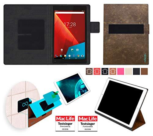 reboon Hülle für Vodafone Tab Prime 7 Tasche Cover Hülle Bumper | in Braun Wildleder | Testsieger