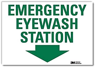 "SmartSign ""Emergency Eyewash Station"" Label with Down Arrow 
