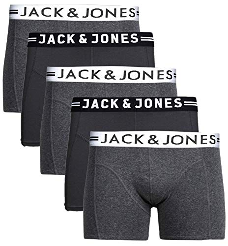 JACK & JONES Herren 5er Pack Boxershorts Mix Unterwäsche Mehrpack (2xBlack 3X Dark Grey, L)