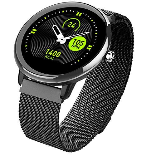 Smartwatch, Fitness Armband mit Full-Touchscreen IP68 Wasserdicht Mit Blutdruckmessung Pulsuhren Bluetooth Smart Watch Schrittzähler Armbanduhr Anrufe SMS-Benachrichtigung für Frauen Männer(Black)