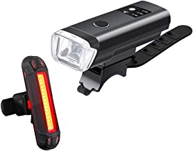 USB Rechargeable Bike Light Set, Powerful Lumens Bicycle Headlight and Tail Light, LED Front and Back Rear Lights Easy to ...