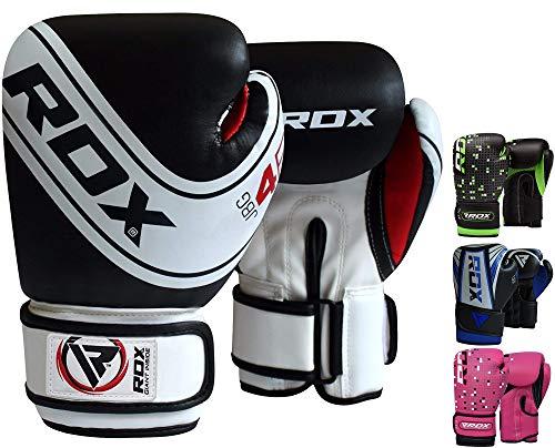 RDX Guantes de Boxeo Niño para Entrenamiento y Muay Thai   Maya Hide Cuero Junior 4oz, 6oz Mitones para Kick Boxing, Sparring   Combate Kids Boxing Gloves para Saco Boxeo Training