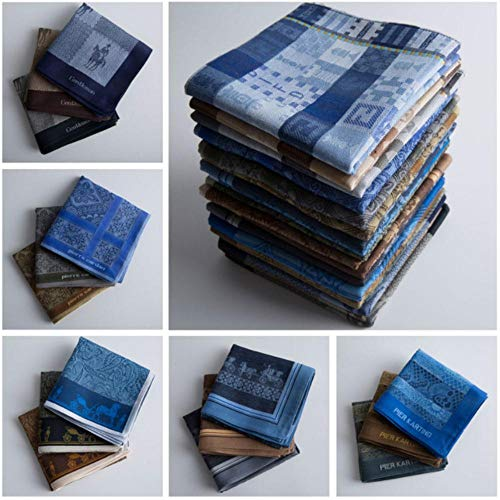 Boner 6 stuks katoenen zakdoeken Heren pak Pocket Square zakdoeken, 1