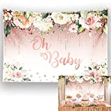 Allenjoy 7x5ft Durable/Soft Fabric Rose Gold Oh Baby Backdrop for Girl Pink Gradient Flower Glitter Dots Photography Background Baby Shower Sign Party Supplies Decoration Banner Photo Booth Props