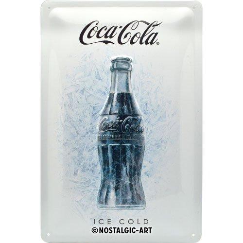 Nostalgic-Art Retro Blechschild Coca-Cola – Ice White – Geschenk-Idee für Coke-Fans, aus Metall, Vintage-Design zur Dekoration, 20 x 30 cm