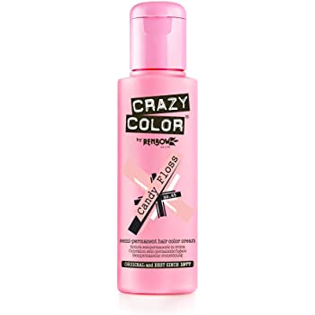 Crazy Color Semi Permanent Hair Color Cream Candy Floss No.65 100ml,4 Count