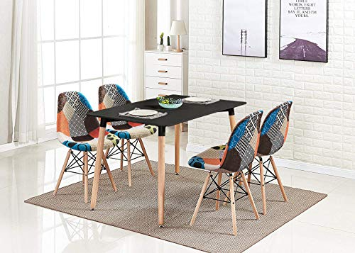 HomeSailing Black Dining Table and Chairs Set of 4, 5 Pieces Kitchen Wooden Dining Room Table and 4 Retro Fabric Patchwork Chairs for Small Apartment (1 Black Table 4 Chairs, Multicolour-Red)