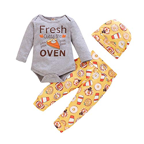 Baby Boy Girl Clothes Baby 3Pcs Outfits Sets Cake Candy Cartoon Ptint Outfits Long Sleeve 3PCS Outfits Cute Printing Long Sleeve Romper Long Pant Hat Winter Tollder Kids Cotton Bodysuit Suit