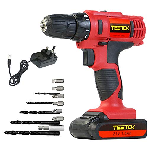 21V Cordless Drill, Electric Cordless Driver 12PCS 45N.m Power Tool, Fast Charger, 18 + 1 Torque Setting Drill 1.5Ah Batteries