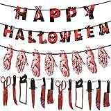 QUOP Decoraciones de Halloween Banner Sangriento Zombie Vampiro Decoraciones para Fiestas Suministros Arma Falsa ensangrentada Bandera de Manos y pies Decoración de la casa