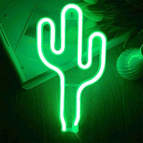 ENUOLI Cactus - Luz de neón LED con forma de cactus, color verde, con USB o pilas, luz nocturna neón, lámpara de pared de neón, para habitación de los niños, fiesta de Navidad, bar