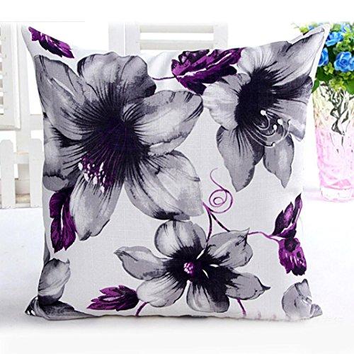 kingko® Motif Fleurs Canapé-lit en Tissu Home Decor Square Taie d'oreiller Pillow Case Housse de Coussin (Violet)