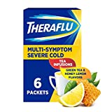 Theraflu Multi-Symptom Severe Cold Hot Liquid Powder Tea Infusions Green Tea and Honey Lemon Flavors 6 Count Box