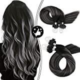 Moresoo 20 Inch Micro Loop Hair Extensions Remy Straight Human Hair Balayage Color #1B Off Black to Silver Highlight #1B Micro Rings Beads Hair Extensions 1g/s 50g/50s