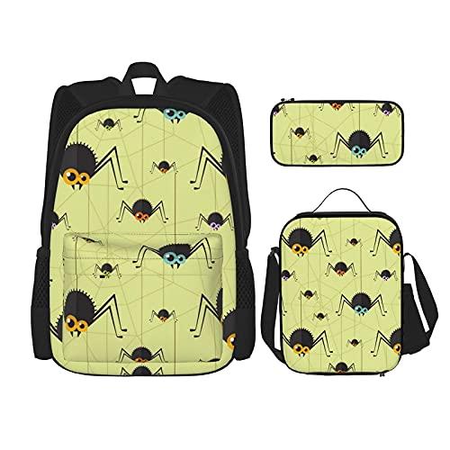 Spider Web Beste Gift Voor Studenten 3 In 1 Set Waterbestendig Rugzakken/Grote Capaciteit Potlood Cases/Geïsoleerde…