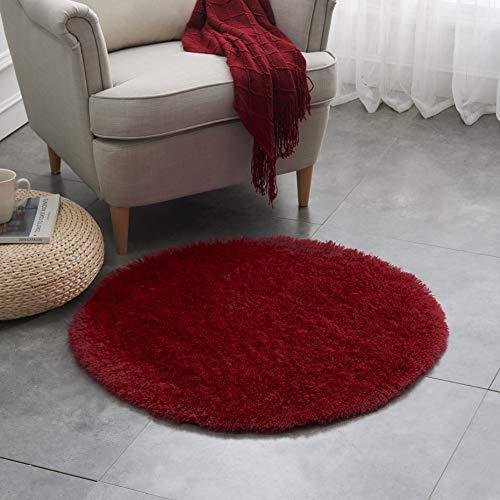 Teppich Wölkchen Hochflor-Plüsch-Teppich I Wohnzimmer Kinderzimmer Schlafzimmer Flur Läufer I rutschfeste Unterseite I 80 rund - Rot
