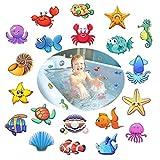 Anti Rutsch Sticker für Badewannen, 20 Meeresorganismen, 10 cm Ø für Sicherheit in Badewanne & Dusche Bad, selbstklebend Antirutsch Aufkleber