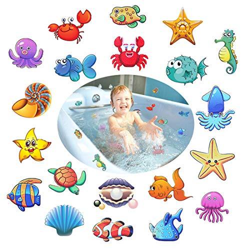 Afufu Anti Rutsch Sticker für Badewannen, 20 Meeresorganismen, 10 cm Ø für Sicherheit in Badewanne & Dusche Bad, selbstklebend Antirutsch Aufkleber