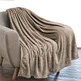 PAVILIA Luxury Flannel Fleece Blanket Throw Tan Taupe Camel Neutral | Soft Decorative Jacquard Weave Microfiber Throw for Bed Sofa Couch | Velvet Textured Leaves Pattern Lightweight Cozy | 50'x60'
