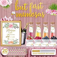 THE ONLY MIMOSA BAR SUPPLIES YOU'LL NEED: VAVO's party decoration set includes EVERYTHING you need to set up your own mimosa bar and get the party started! With just one click, you'll get a gold foil Mimosa Bar sign, a 'But First Mimosa' Banner', 20 ...