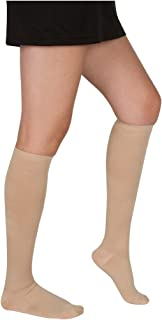 EvoNation Women's USA Made Graduated Compression Socks 20-30 mmHg Firm Pressure Medical Quality Ladies Knee High Support Stockings Hose - Best Comfort Fit,Circulation,Travel 2XL (XXL, Tan Beige Nude)
