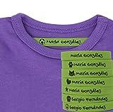 100 Etiquetas Termoadhesivas Personalizadas con Icono para marcar la ropa. (Verde)