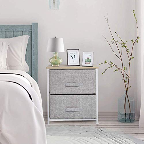 Greensen Bedside Table with 2 Drawers Small Storage Cabinet Drawer Tower Nightstand Side Table End Table Organizer Unit with Metal Frame for Bedroom Hallway Living Room Entryway(Light grey)