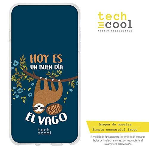 Funnytech® Funda Silicona para Huawei GX8 [Gel Silicona Flexible, Diseño Exclusivo] Frase Perezoso vago Fondo Azul