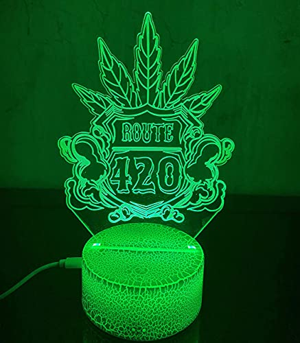 Lámpara de mesa LED 3D de hoja de marihuana, luz nocturna de hierba de cannabis, ilusión visual óptica, decoración del hogar, iluminación, 16 colores