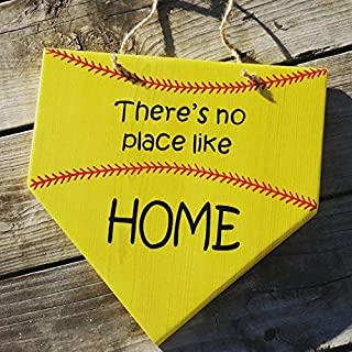 weewen Softball Sign Theres No Place Like Home Wooden Softball Sign Home Plate Gift for Softball Player Girls Softball Decor Wood Plaque Cabin Wall Art Decoration Sign