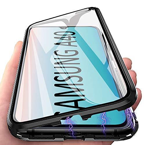 Mosoris Hülle für Samsung Galaxy A40, Transparent Panzerglasfolie 360 Grad Handyhülle Full Schutz Cover Schwarz Grenze Magnetische Adsorption Case, Vorne und Hinten Harte Schutzhülle