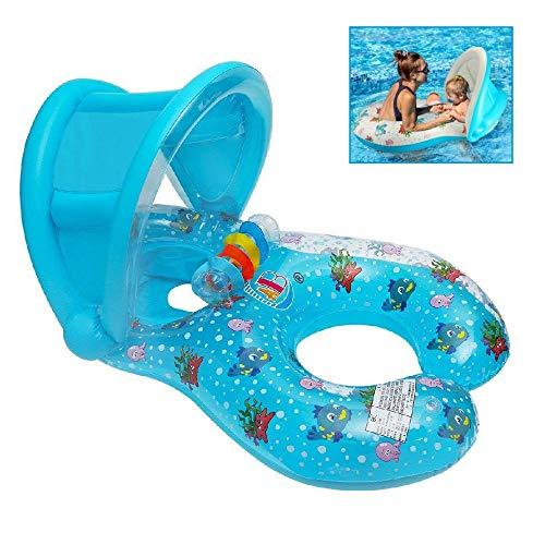 Qilerongrong Flotador para bebé 6meses-3 Años Barco Inflable Flotador con Asiento Respaldo Techo Ajustable Juguetes de Desarrollo de Natación en Agua para Niños