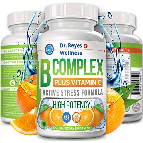 Super Active Vitamin B Complex with Vitamin C | Doctors Complejo B | Complete B12 B1 B2 B3 B6 B7 B9 Folate | Methyl Best Pure High Potency Stress Energy Supplement | Immune System | 60 Vegan Capsules