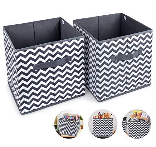 2pcs Cube de Rangement Pliable Boîtes de Rangement 30x30x30cm Tiroirs Non-Tissé Boîtes avec Poignée Panier de Rangement Caisse de Rangement Casier Grande Capacité pour Linge Jouet Vêtement Livres