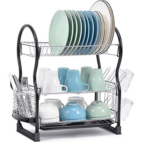 Escurridor de platos de Kingrack, 3 niveles, fácil de montar, gran capacidad, escurridor de platos con soporte de utensilios de montaje lateral y soporte para tazas, organizador de platos