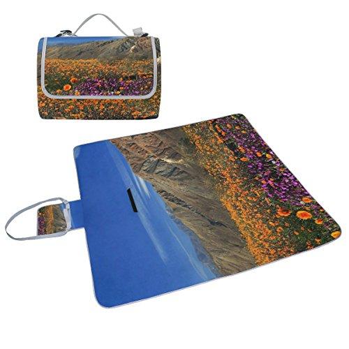 COOSUN Wild Flowers Couverture de pique-nique Sac pratique Tapis résistant aux moisissures et étanche Tapis de camping pour les pique-niques, les plages, randonnée, Voyage, Rving et sorties