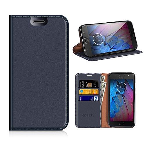 MOBESV Motorola Moto G5S Hülle Leder, Motorola Moto G5S Tasche Lederhülle/Wallet Hülle/Ledertasche Handyhülle/Schutzhülle mit Kartenfach für Motorola Moto G5S - Dunkel Blau