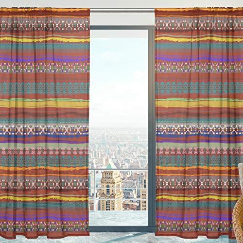 Mnsruu Cortinas transparentes para ventana, diseño étnico, bohemio, de tul suave, para sala de estar, dormitorio, 140 x 198 cm, 2 paneles