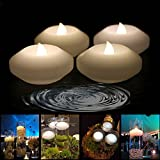 (Pack of 4) Wax Flicker 3 inch LED Water Floating Candle Warm White Color for Wedding or Party Decoration (Warm White)