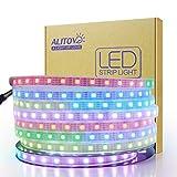 ALITOVE 12V WS2812B LED Strip Light WS2813 12V RGB Addressable LED Pixel Tape Light WS2815 Programmable LED Felxible Strip 16.4ft/5m 300 LEDs Waterproof IP67 White PCB for Decor Lighting Project