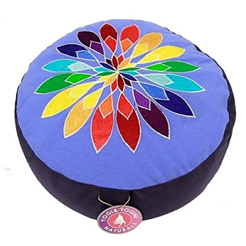 Panotophia Meditationskissen Chakra Yoga Kissen Multicolor-Bumenmotiv XL blau/schwarz