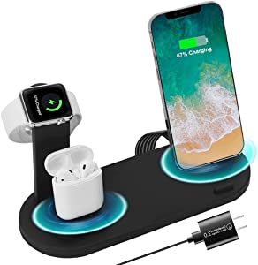 Fullpetree 3 in 1 Wireless Charging Station Compatible with Apple Products Multiple Devices Apple Watch SE 6 5 4 3 2 AirPods Pro/2 iPhone 12/11/Pro Max/X/XS/XR/8 Plus QI Fast Charger Stand Dock