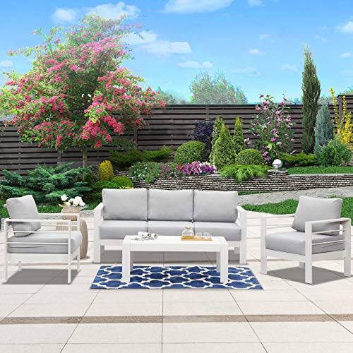 Wisteria Lane Outdoor Patio Furniture Sets, 4 Piece Aluminum Sectional Sofa, White Metal Conversation Set with Grey Cushions