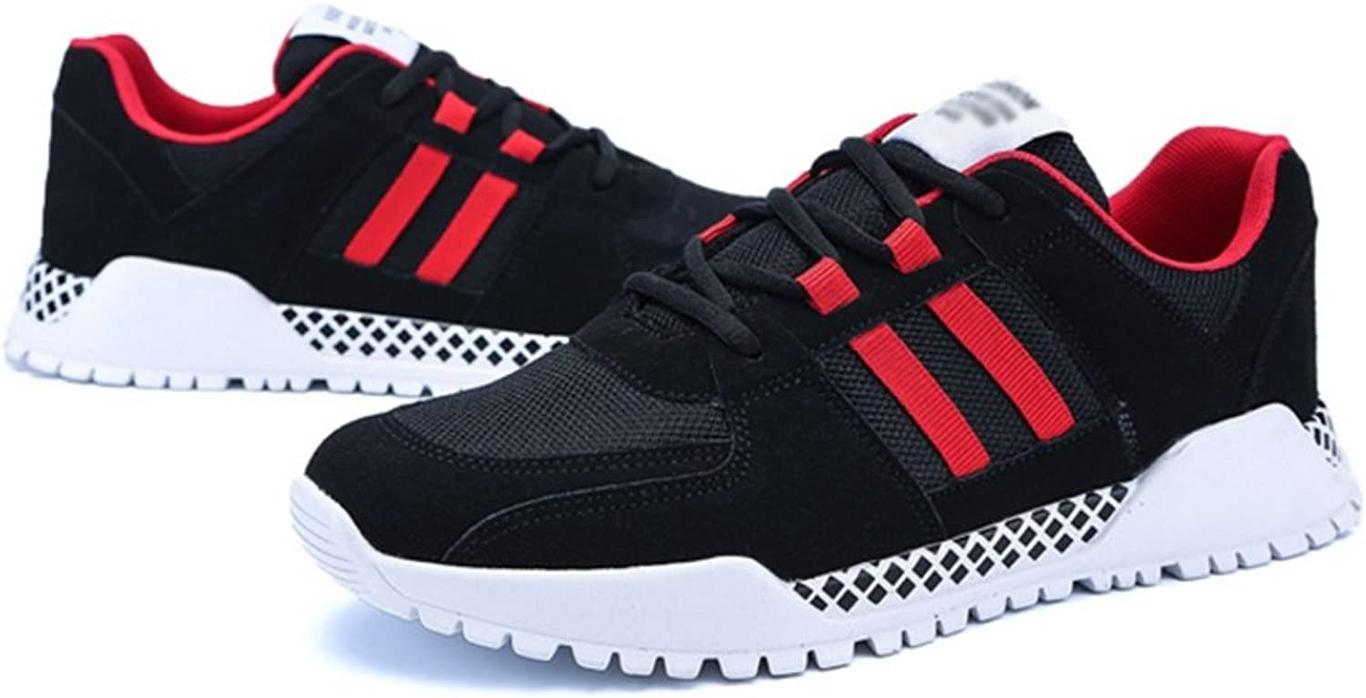 RENMEN Spring and summer models breathable men's shoes casual sports trend young students shoes wild 39-43, black and red