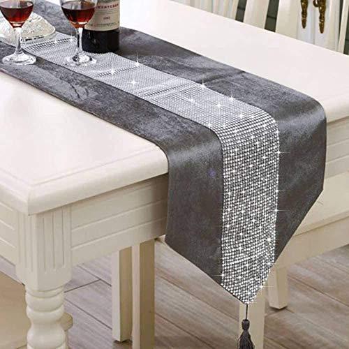 LCHULLE Tischläufer/Tischdecke mit Schmucksteinen 210 * 33cm Glitzer Tischläufer Tischband Tischdecken für Party Hochzeit Bankett Tischdekoration Grau